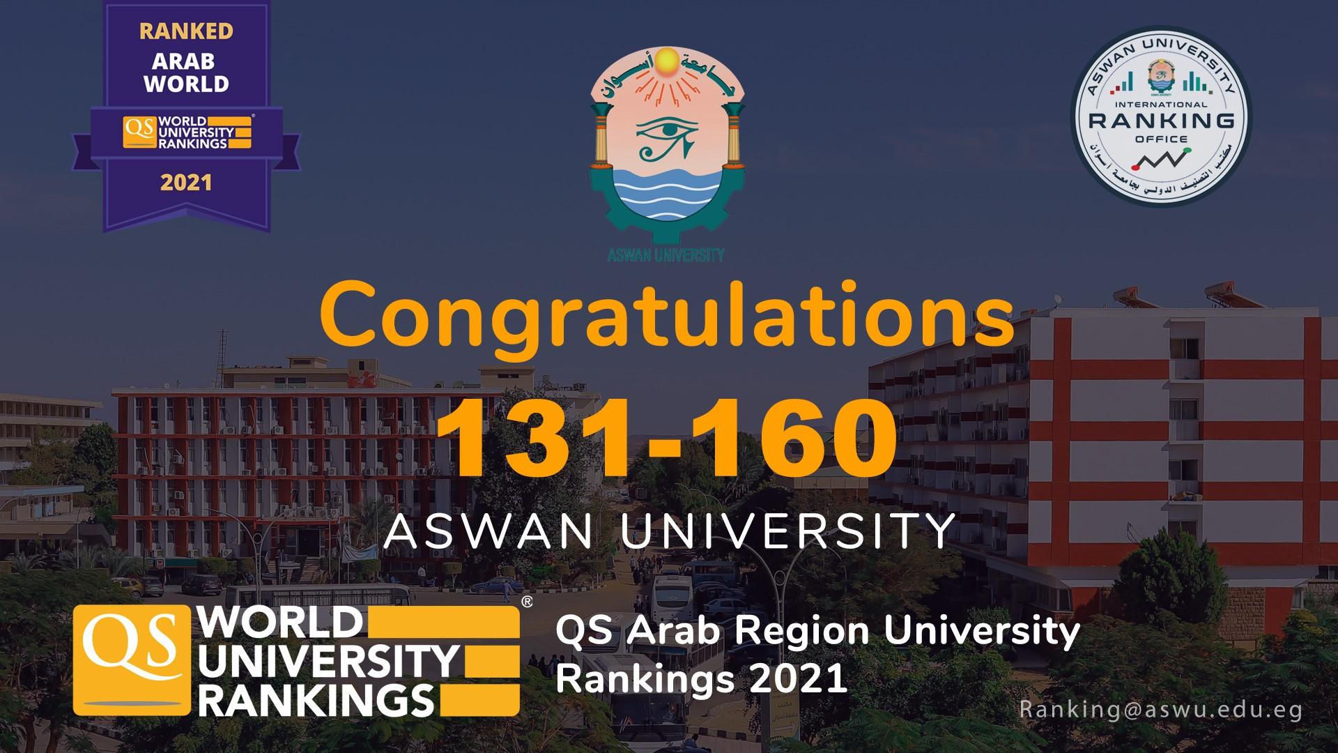 جامعة أسوان لأول مرة بتصنيف الـ QS، وتحقق انجازين جديدين في تصنيف التايمز البريطاني 2021 للتخصصات العلمية